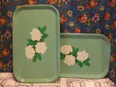 2 Green Trays with Pretty White Flowers. $12.00, via Etsy.
