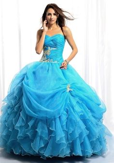 Ball Gown Sweetheart Strapless Floor-length in Organza Quinceanera Dress