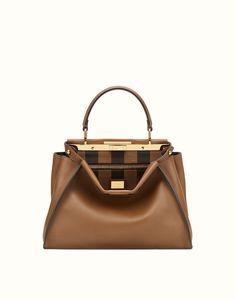 FENDI PEEKABOO REGULAR - handbag with Pequin pattern