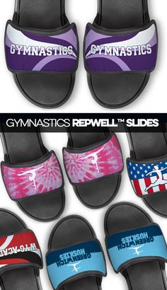 Gymnasts will love our gymnastics Repwell® slide sandals for both their comfort and their style. Each pair has an unique gymnastics design and cushioned sole. Gymnastics Coaching, Gymnastics Gifts, Goft Ideas, Everywhere You Go, Daily Activities, Team Names, Pool Slides, Slide Sandals, Kendall