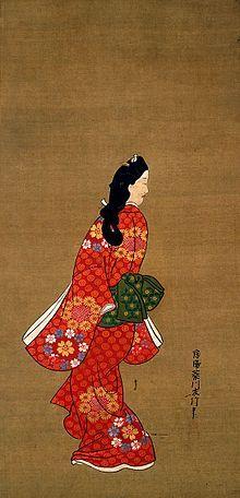 Bijin se retournant. Peinture sur soie de Moronobu de format kakémono.