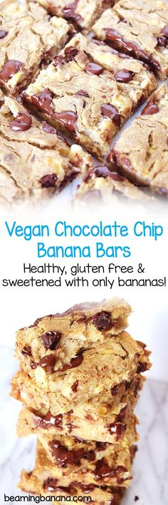 Soft, rich vegan chocolate chip banana bars couldn't be easier to throw together, but their flavor is incredible. Healthy, gluten free and naturally sweetened with only bananas!