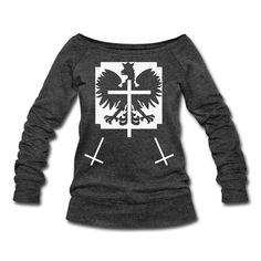 Polska Triple Crucifix Sweater Women (*Weiß Glitzer*) - Frauen Pullover mit U-Boot-Ausschnitt von Bella