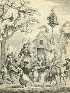 """""""Jardin d'enfants selon Froebel"""". Anonymous lithography. Centre de documentation et de Recherche Pestalozzi, Yverdon-les-Bains, Switzerland."""