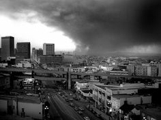 Late afternoon October 20, 1991, Oakland Hills fire, looking down Market Street, San Francisco.  Fire consumed about 3,300 homes in a matter of hours on that hot windy October day.  Taken from the roof the the 15 Hermann St. apartment building. Fuji gs645s with Ilford FP4 film.