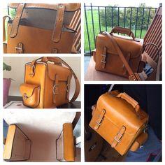 Real brazilian cowhide handmade from LittleLeatherLab. Ready made desert tan shoulder bag handbag messenger camera case.