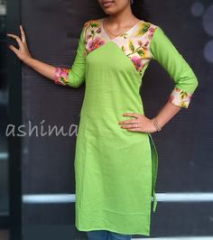 Code:2301160 -Linen Cotton With Floral Yoke- Price INR:890/-