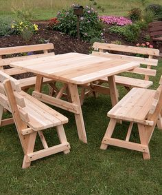 Unfinished Square Picnic Table & Backed Benches Set
