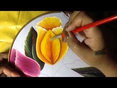 Pintura en tela camino tulipanes # 3 con cony