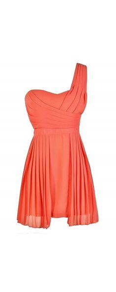 Pretty Pleats One Shoulder Chiffon Dress in Coral  www.lilyboutique.com