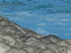 ARTES, DESARTES E DESASTRES CONTEMPORÂNEOS.  Mar e Montanhas Lunares Técnica Mista (Acrílica e nanquim com interferências digitais) sobre papel