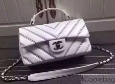 Chanel Leather Chevron Stitch Flap Shoulder Tote Bag White 2015 2016 482aa1cb16