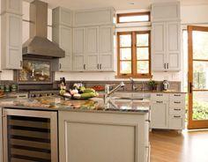 Transitional U-shaped White kitchen, teal cabinets, Warwick Group,