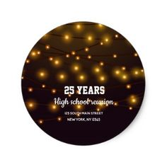Modern string lights classic round sticker - engagement gifts ideas diy special unique personalize