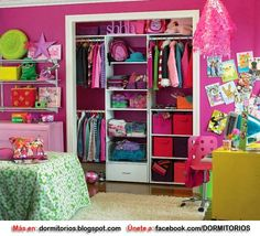 Small Kids Bedroom Ideas Design, Pictures, Remodel, Decor and Ideas - page room closet Pink Closet, Closet Bedroom, Girls Bedroom, Closet Space, Teen Closet, Teen Bedrooms, Closet Redo, Bedroom Wall, Small Spaces