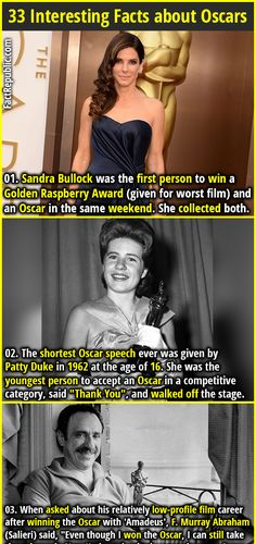"""1. Sandra Bullock was the first person to win a Golden Raspberry Award (given for worst film) and an Oscar in the same weekend. She collected both. 2. The shortest Oscar speech ever was given by Patty Duke in 1962 at the age of 16. She was the youngest person to accept an Oscar in a competitive category, said """"Thank You"""", and walked off the stage."""