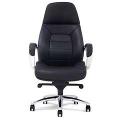 Gates Genuine Leather Aluminum Base High Back Executive Chair - Black