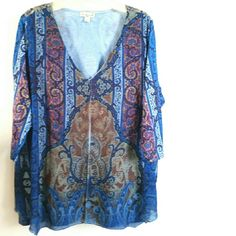 """Live & Let Live 3X Blue & Brown Print Top This Live & Let Live 3X Blue & Brown Print Top is in great used condition. Features a beautiful Moroccan inspired print with embellishments and an open layer. Soft & stretchy. 96% polyester, 4% spandex. 3/4 sleeves. Bust: 25"""" across laying flat, measured from pit to pit, so 50"""" around unstretched. 30"""" long. No pilling. ::: Bundle 3+ items from my closet and save 30% off when you use the app's Bundle feature! ::: No trades. Live & Let Live  Tops"""