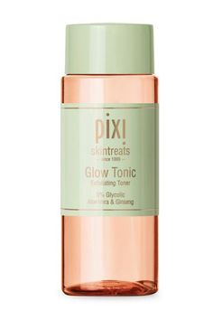 Pixi skintreats Glow Tonic - fl oz Original Glyolic Acid Formula with Aloe Vera and Ginseng. Gently exfoliates to remove dead skin cells, revealing healthy glowing skin. For all skin types. Chemisches Peeling, Peeling Maske, Sephora, Best Drugstore Toner, Drugstore Beauty, Beauty Makeup, Makeup Tips, Exfoliating Toner, Beauty Tips