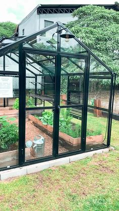 Best Garden Decorations Tips and Tricks You Need to Know - Modern Greenhouse Interiors, Backyard Greenhouse, Small Greenhouse, Backyard Landscaping, Greenhouse Attached To House, Greenhouse Ideas, Modern Greenhouses, Garden Vertical, Raised Beds
