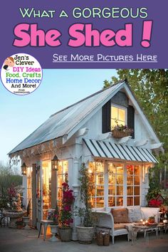 She Shed Ideas for YOUR Backyard! What a GORGEOUS She Shed! Clever and creative small cottage woman cave for your home office craftroom or private retreat! See More She Shed Pictures Here Shed Office, Backyard Office, Backyard Sheds, Backyard Retreat, Tiny Office, Garden Sheds, Backyard Bar, She Shed Decorating Ideas, Lush