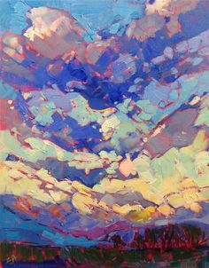 Dramatic sky painting, oil on board, for sale by Erin Hanson