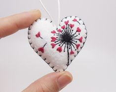 Dandelion Heart Seeds Miniature Felt Heart Ornament, Dandelion Valentine Ornament, Dandelion Seed Ornament, Valentine's Day 2017