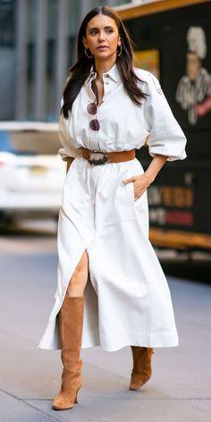 Celebrity Outfits, Celebrity Style, Nina Dobrev Style, Nina Dobrev Dress, Actrices Sexy, Business Mode, Gucci Dress, Cute Cardigans, Katie Holmes