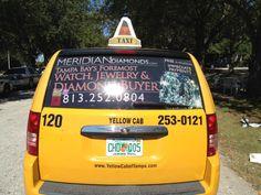 Tampa Taxi Advertising #taximediasolutions #tampa #yellowcab #meridiandiamonds #ooh #oohadvertising #advertising