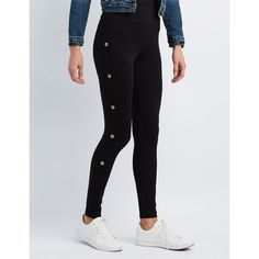 Charlotte Russe Grommet-Trim High-Rise Ponte Leggings ($15) ❤ liked on Polyvore featuring pants, leggings, black, legging pants, ponte pants, high-waisted leggings, ponte knit pants and high-waist trousers