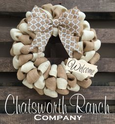 Fall Welcome Door Wreath Rustic Country by ChatsworthRanchCo
