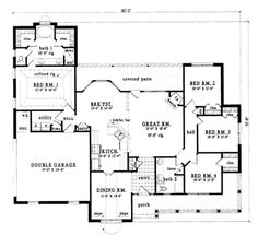 farmhouse style house plan 4 beds 2 baths 1856 sqft plan 42 - Open Floor House Plans