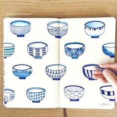 What's your favorite ramen? Japanese bowls illustration, blue ink on Moleskine.