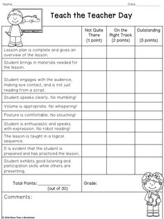 Teach the Teacher Day Speaking and Listening Rubric