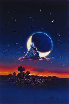 Aladdin Walt Disney Fine Art Rodel Gonzalez Signed Limited Edition of 95 on Canvas