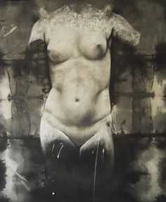 Venere Anadiomene black pigment and stucco on old linen