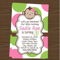 Mod Monkey Party Invitations 12pk by sweetumspartyfavors on Etsy