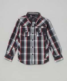 Love this Micros Charcoal Plaid Button-Up - Toddler & Boys by Micros on #zulily! #zulilyfinds