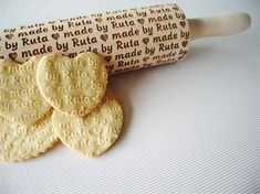 Personalized Rolling Pin - made by... Embossing rolling pin. Rolling pin for embossed cookies. Lazer engraved dough roller