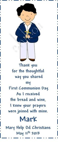 First Communion Favors First Communion Bookmark