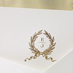 Classic Engraved Wedding Monogram : Hand Engraved Embassy Wedding Invitation with Monogram