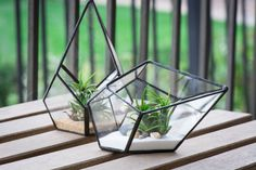 Small Geometric Teardrop Terrarium by BlissfulPerfections on Etsy