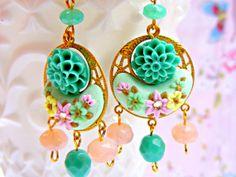 Pink Green Earrings Vintage Chandelier Earrings by Sweetystuff, £20.00