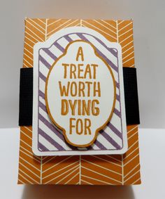 Hershey Nugget Treat Box created by Lynn Gauthier using Stampin' Up Sweet Hauntings Stamp Set and Happy Haunting Designer Series Paper. Go to http://lynnslocker.blogspot.com/2015/09/treat-hiding-in-double-mini-treat-bag.html to see the details and instructions for this project.