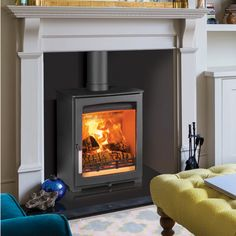 Parkray Aspect 5 Compact Wood Burning Stove Room Set - seen at Scarborough, Wold also stock. Good clean line, excellent viewing window, question whether too wide and black dots on glass