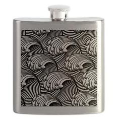 Japanese Wave design in Black and White Flask> Exquisite Japanese wave design > Victory Ink Tshirts and Gifts