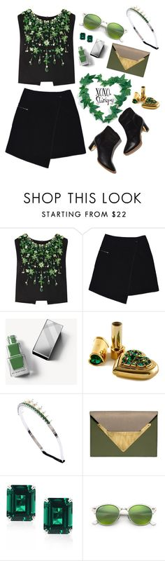 """""""Black and Green"""" by starspy ❤ liked on Polyvore featuring Miu Miu, MARC CAIN, Burberry, Dareen Hakim, CARAT* London and Ray-Ban"""