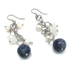 Blue Earth Earrings / Freshwater Pearl Glass by KatherineGiftShop, $22.00
