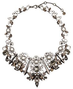 Givenchy Necklace, Hematite-Tone Glass Pearl Stone Statement Collar Necklace - Fall Jewelry Trends - Jewelry & Watches - Macy's