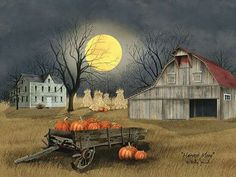 Art Print, Framed or Plaque by Billy Jacobs - Harvest Moon - Halloween Wall Decor, Halloween Painting, Halloween Art, Vintage Halloween, Halloween 2017, Modern Halloween, Happy Halloween, Farm Art, Autumn Scenes